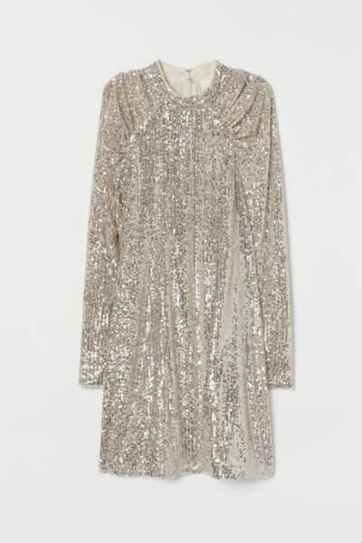 Robe à paillettes, H&M, 19,99€ au lieu de 39,99€