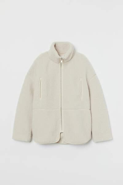 Veste en peluche et col montant, H&M, 34,99€ au lieu de 49,99€