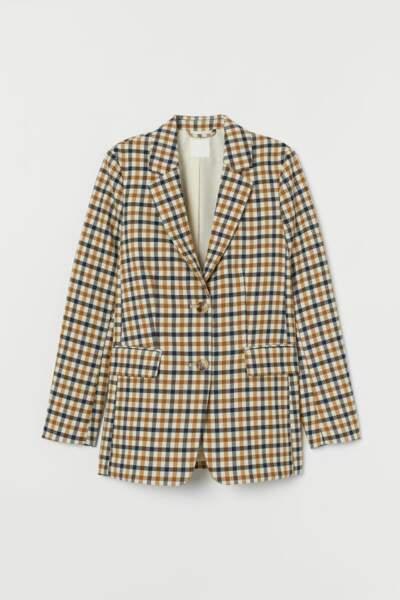 Blazer à carreaux, H&M, 19,99€ au lieu de 39,99€