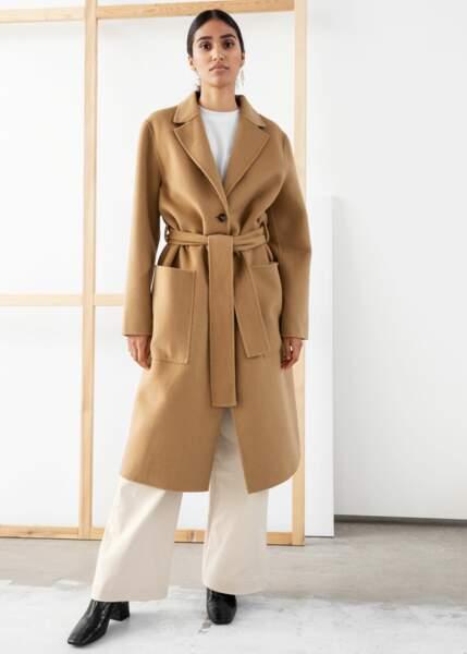 Manteau beige en laine, And Other Stories, 99€ au lieu de 199€