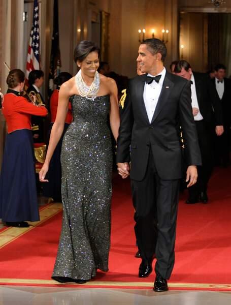Michelle Obama et sa robe bustier à paillettes