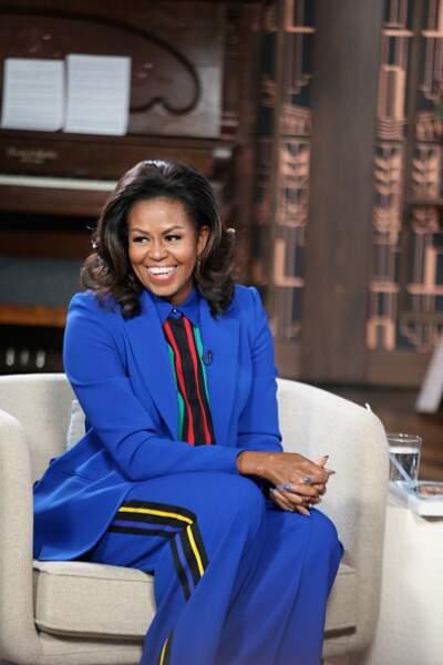 Michelle Obama et son tailleur bleu électrique