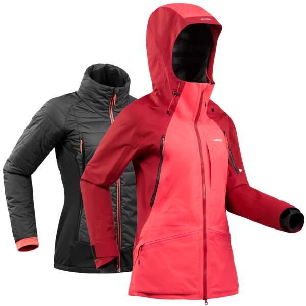 Veste de ski imperméable, respirante et équipée d'une doudoune amovible, Wedze chez Decathlon, 200 €