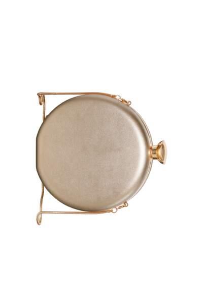 Minaudière ronde métallisée avec chaîne dorée, C&A, 19,90 €