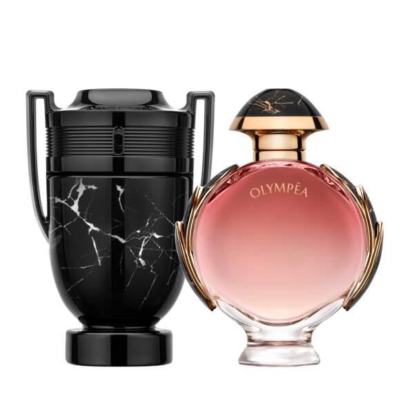 Duo parfums. Olympea Onyx Eau de Parfum pour femme (102 € les 80 ml) et Invictus Onyx Eau de Toilette pour homme (85 € les 100 ml), Paco Rabanne chez Sephora