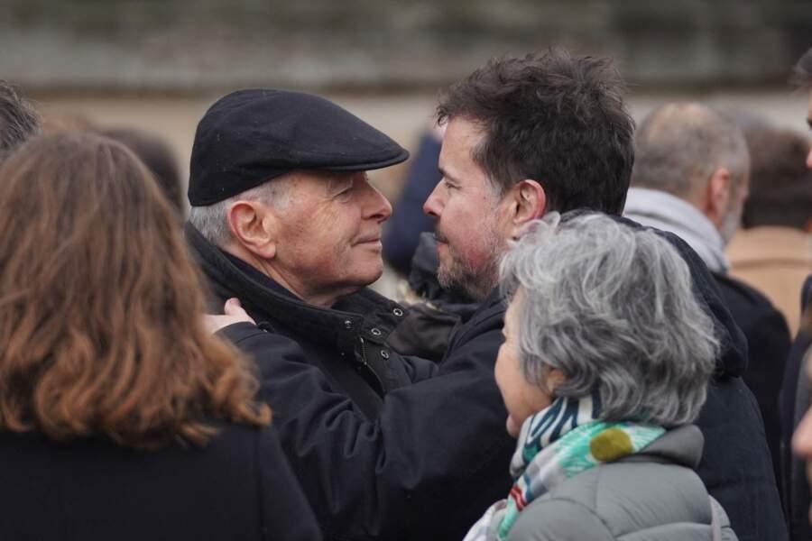 Obsèques de Sébastien Demorand : Nicolas Demorand avec Jacques Toubon