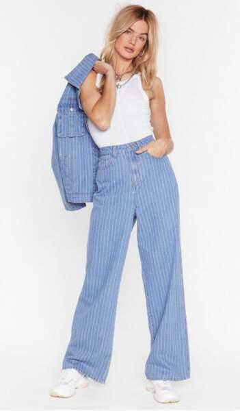 Pantalon ample en jean à rayures, Nasty Gal, actuellement à 30,60€