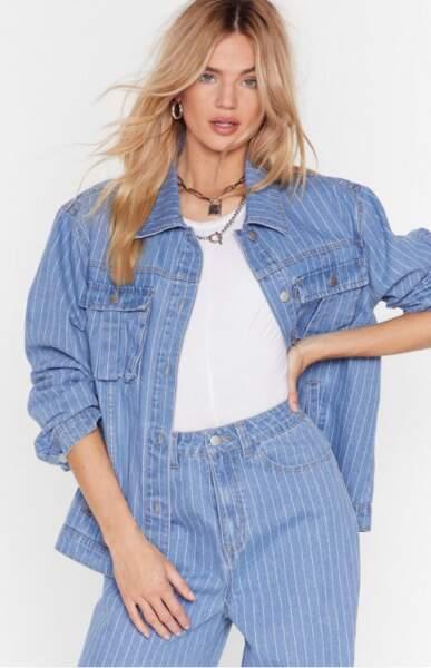 Veste ample en jean à rayures, Nasty Gal, actuellement à 20€
