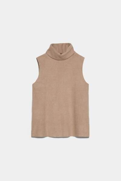 Top à col montant au toucher doux, Zara, 12,95€