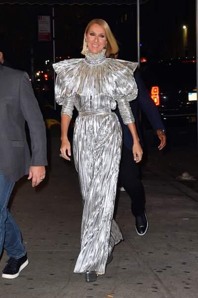 Do Céline Dion : la robe longue silver