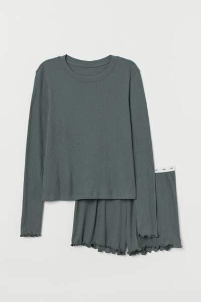Pyjama en jersey côtelé, H&M, 19,99€