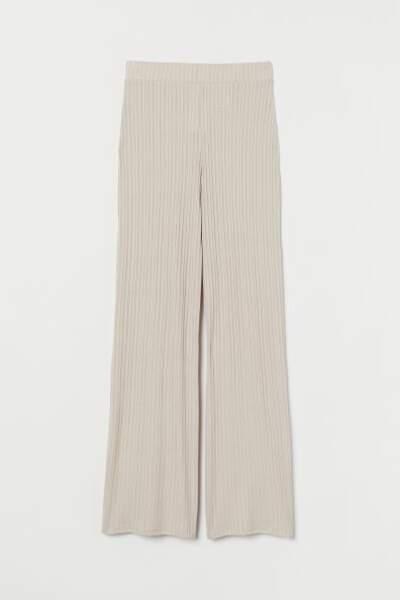 Pantalon en maille côtelée, H&M, 19,99€