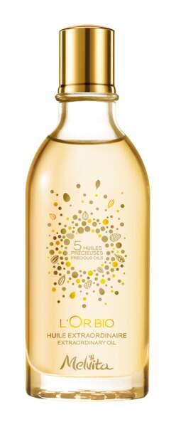 Huile Extraordinaire L'Or Bio. 100 ml, 26 €, Melvita.