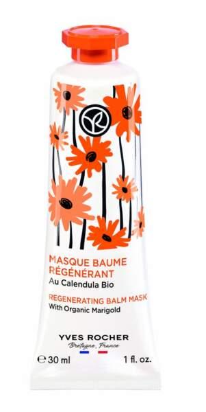 Masque baume régénérant. Au calendula Bio, 30 ml, 7,90 €, Yves Rocher.
