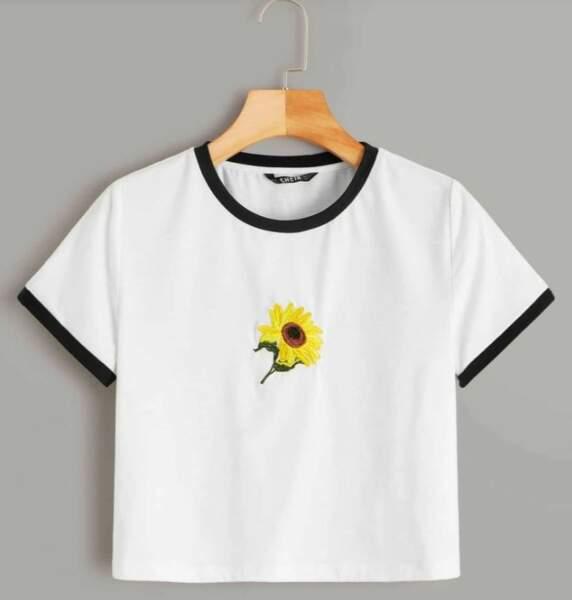 T-shirt brodé d'un tournesol, Shein, 6€