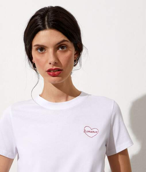 T-shirt brodé Romance, Etam, 17€