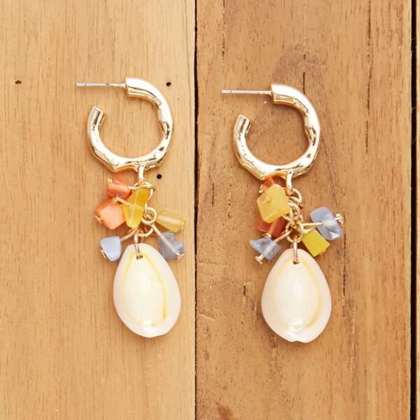 Boucles d'oreilles pendantes coquillages, Kiabi, 4€