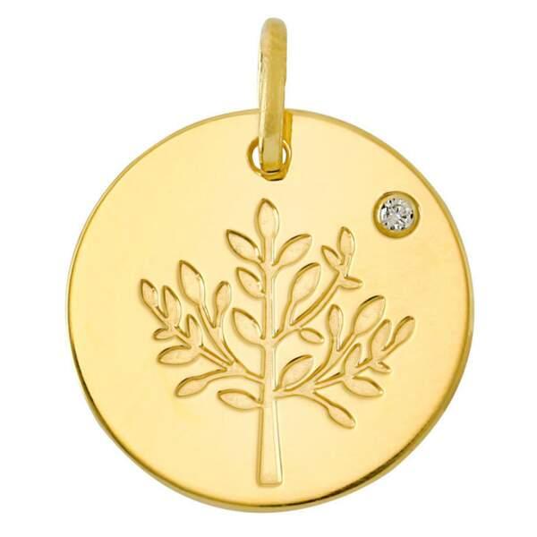 Médaille arbre de vie diamant et or jaune, LuluCastagnette, 89€