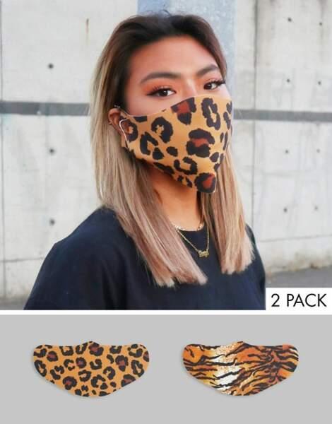 Lot de 2 masques en tissu à imprimé animal, Asos Design, 16,99€