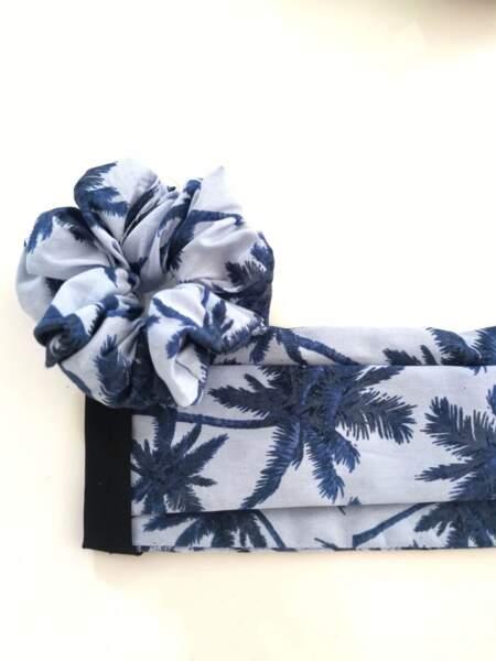 Masque en tissu imprimé palmiers et son chouchou assorti, Noir Madeleine, 10€