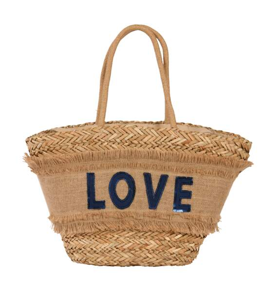 "Cabas jonc de mer ""Love"", Molly Bracken, 39,95€"