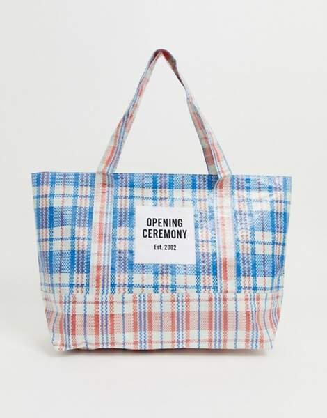 Tote bag bicolore à carreaux, Opening Ceremony, 44,99€