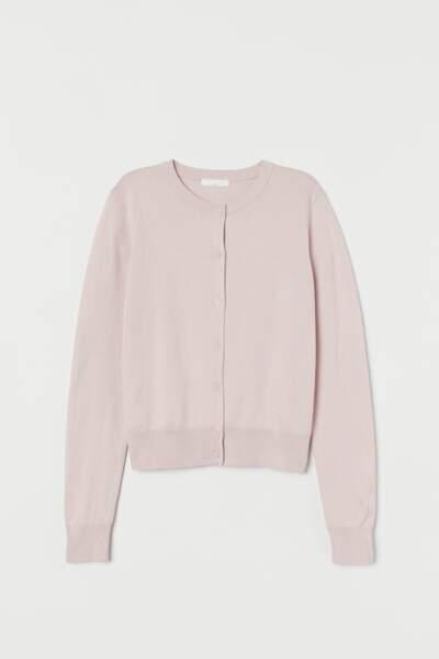 Gilet en maille fine rose pastel, H&M, 9,99€