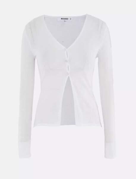 Cardigan tricoté blanc transparent, Missguided, actuellement à 18,99€