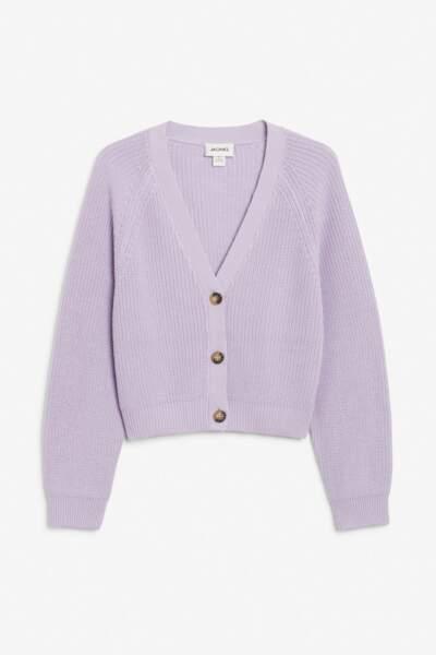 Cardigan couleur lilas, Monki, 30€