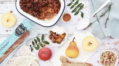 Une recette facile de crumble aux pommes, poires, noisettes, et amandes