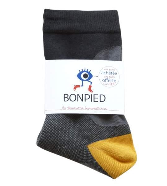 Chaussettes bienveillantes certifiées Oeko-Tex. Pour l'achat de cette paire de chaussettes Bonpied, une paire sera donnée aux SDF, Bonpied, 18 €