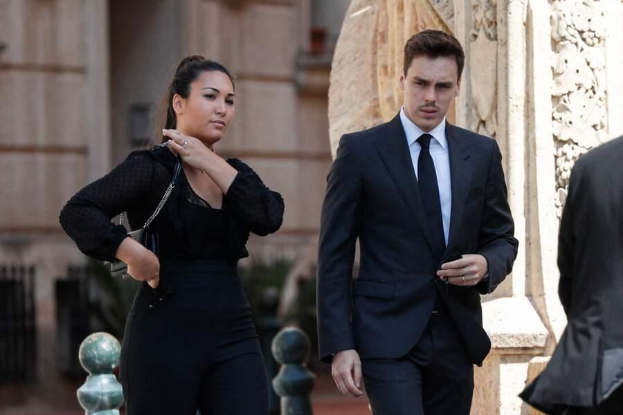 Marie et Louis Ducruet à leur arrivée à la Cathédrale de Monaco pour un dernier adieu à la baronne de Massy