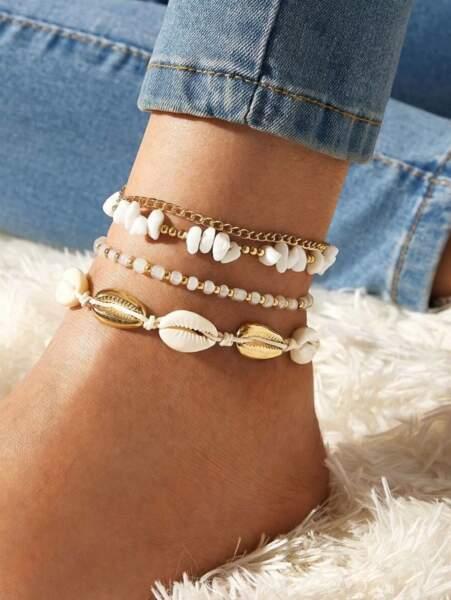 Set de 4 bijoux de cheville avec coquillages, SHEIN, 2,99€