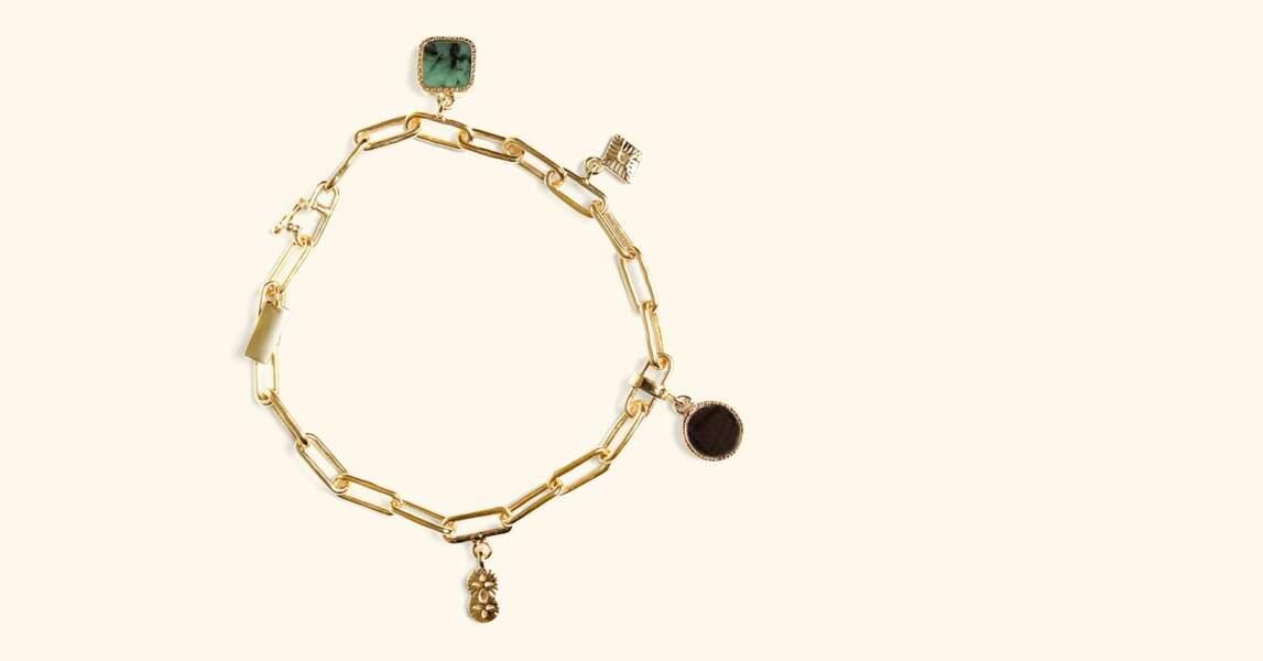 Bracelet Arya, Emeraude et Onyx texturé, Be Maad, 130€
