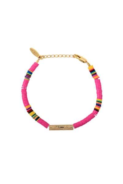 Bracelet tube plaqué or Heishi rose, Allthemust, 80€