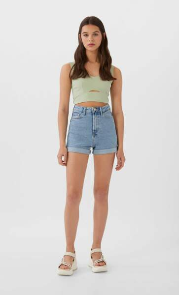 Short en jean coupe mom, Stradivarius, 15,99€