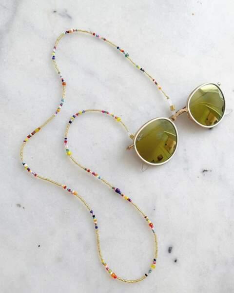 Chaîne pour lunettes multicolore, Maison Passion, 18€