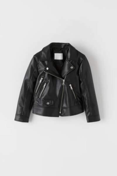 Blouson de motard en cuir synthétique, Zara, 35,95€