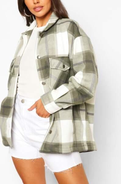 Veste chemise à carreaux, Boohoo Petite, actuellement à 35€