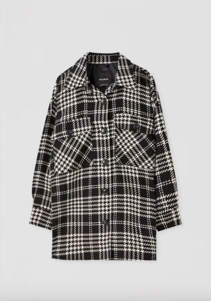 Surchemise à carreaux noirs et blancs, Pull&Bear, 35,99€