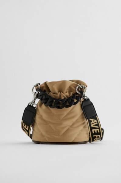 Mini sac seau matelassé, Zara, 25,95€