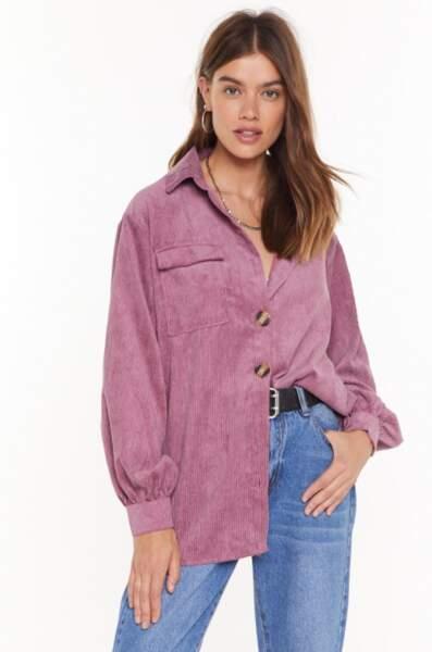 Chemise ample en velours côtelé Le velours c'est l'amour, Nasty Gal, actuellement à 33€