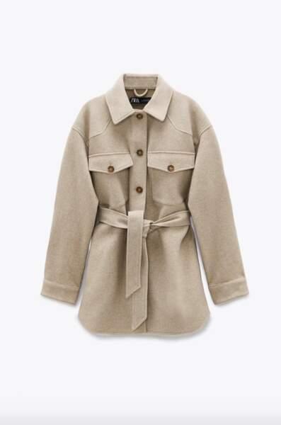 Surchemise avec ceinture, Zara, 49,95€