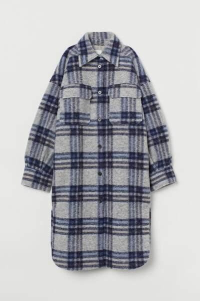 Surchemise longue à carreaux, H&M, 49,99€