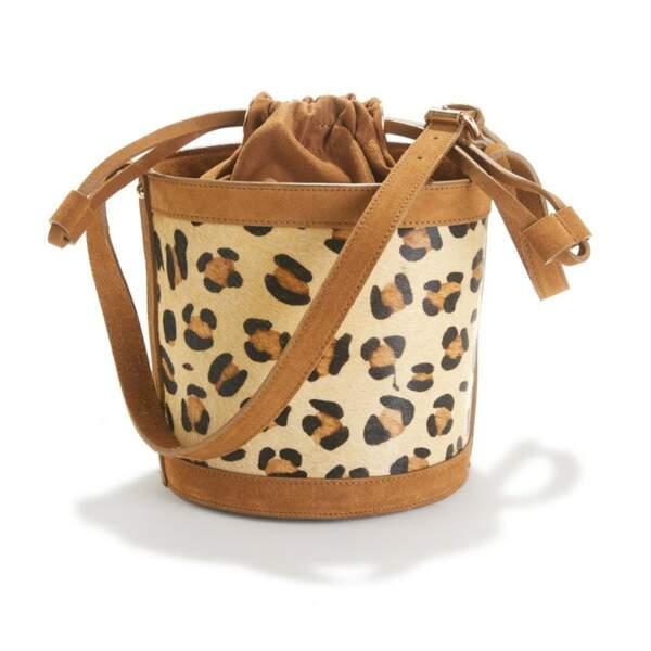 Sac seau en cuir motif léopard, La Redoute Collections, actuellement à 45€