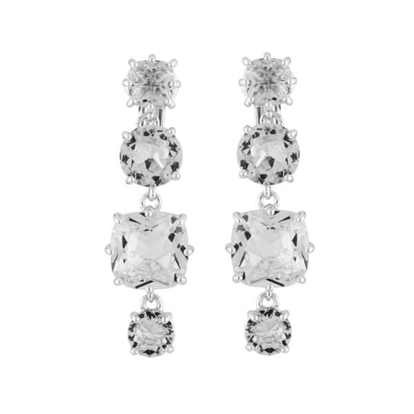 Boucles d'oreilles pendantes 4 pierres silver cristal, Les Néréides, 80€
