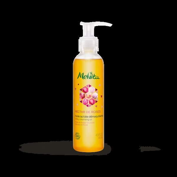 Huile démaquillante Nectar de Roses, Melvita, 18€les 150ml