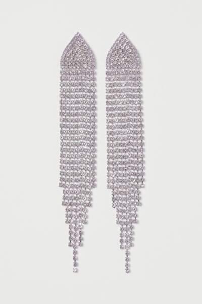 Boucles d'oreilles pendantes en strass, H&M, 9,99€