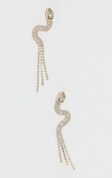 Boucles d'oreilles pendantes en forme de serpent et strass, PrettyLittleThing, actuellement à 6€