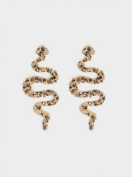 Boucles d'oreilles pendantes serpent en métal doré, Parfois, 12,99€